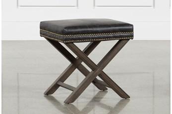 Poplar & Leather 20X16 Ottoman