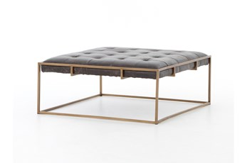 Leather & Iron Square Coffee Table