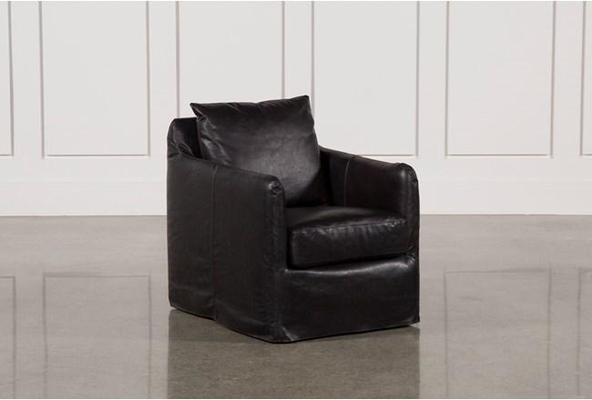 Leather Black Swivel Chair - 360