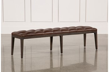 Oak & Leather 68 Inch Bench