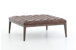 Oak & Leather Square Bench