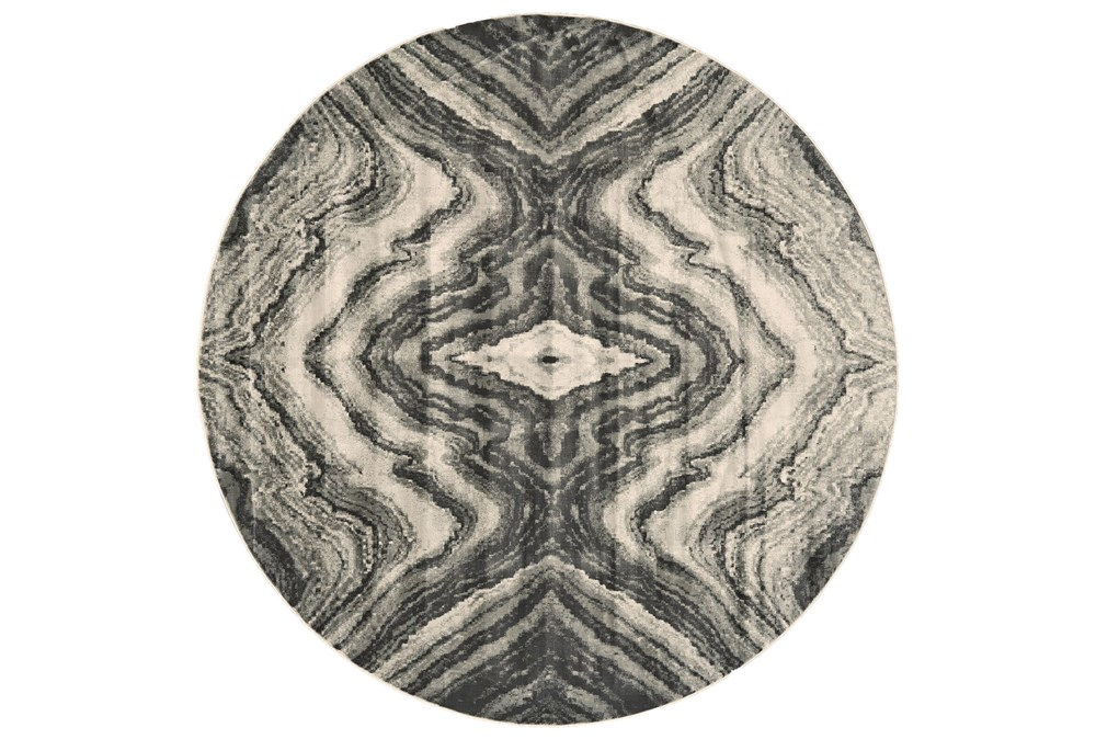 96 Round Rug-Grey Bookmatch Agate