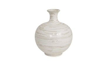 13 Inch Tan/White Ceramic Vase