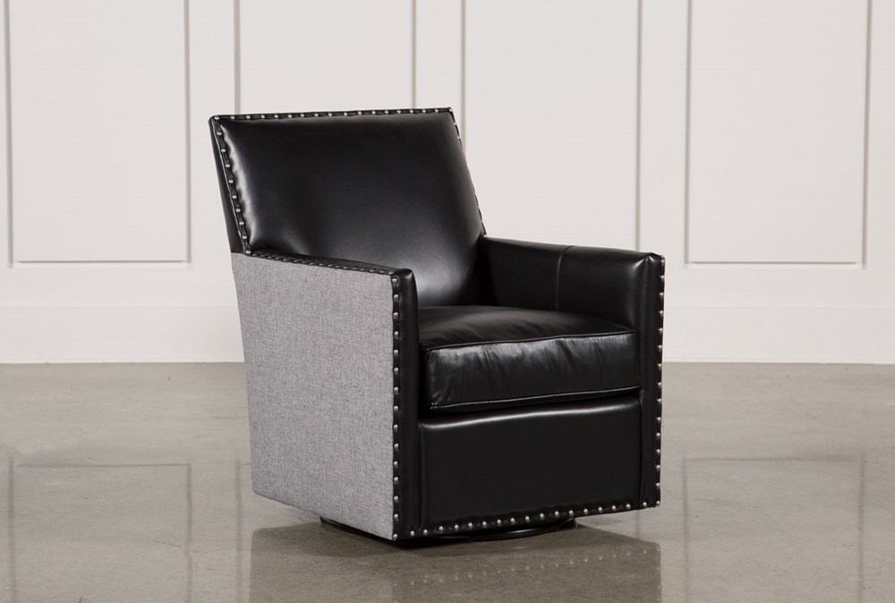 Cortina Black W/Nailheads Swivel Chair