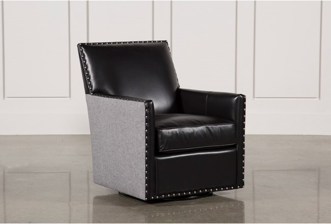 Cortina Black W/Nailheads Swivel Chair - 360