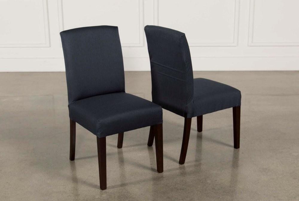 Garten Navy Chairs W/Espresso Finish Set Of 2