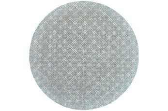 120 Round Rug-Blue Woven Cane