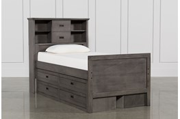 Owen Grey Twin Bookcase Bed W/Double 4-Drawer Storage Unit