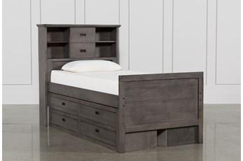 Owen Grey Twin Bookcase Bed W/Double 4-Drawer Storage Unit