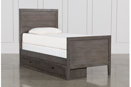 Owen Grey Twin Panel Bed W/Single 2-Drawer Storage Unit