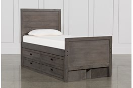 Owen Grey Twin Panel Bed W/Double 4-Drawer Storage Unit