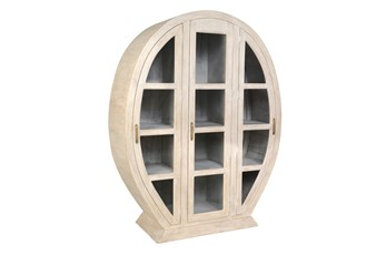 White Wash Oval Display Cabinet