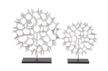 2 Piece Set Silver Sculptures