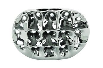 11 Inch Silver Ceramic Vase