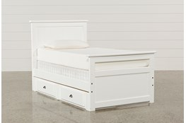 Summit White Twin Panel Bed With Single 2-Drawer Underbed Storage