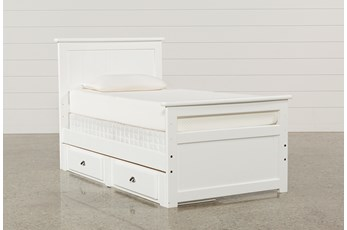 Summit White Twin Panel Bed With 2-Drawer Underbed Storage