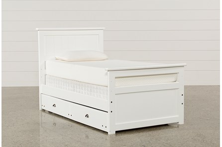 Summit White Twin Panel Bed With Trundle With Mattress