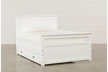 Summit White Full Panel Bed With Trundle With Mattress