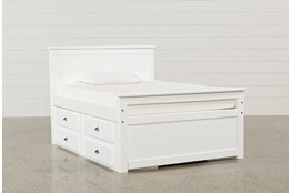 Summit White Full Panel Bed With Double 4-Drawer Storage Unit