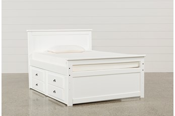Summit White Full Panel Bed With 2-Drawer Captain Trundle