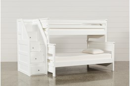 Summit White Twin Over Full Bunk Bed With Stairway Chest