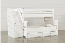 Summit White Twin Over Full Bunk With 2- Drawer Undrbd Strg & Stairway
