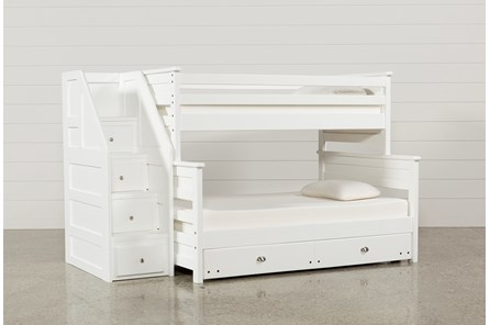 Summit White Twin Over Full Bunk With Trundle/Mattress & Stairway
