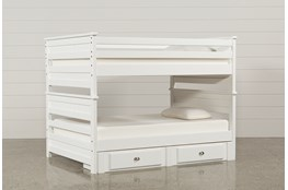 Summit White Full Over Full Bunk Bed With 2- Drawer Underbed Strg Unit