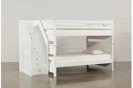 Summit White Full Over Full Bunk Bed With Stairway Chest
