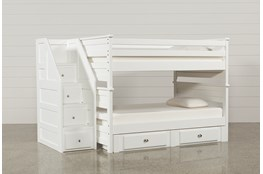 Summit White Full Over Full Bunk With 2- Drawer Undrbd Strg & Stairway