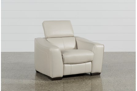 Kristen Silver Grey Leather Power Recliner W/Usb