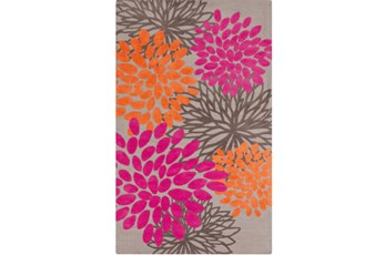 39X63 Rug-Pink And Orange Blooms
