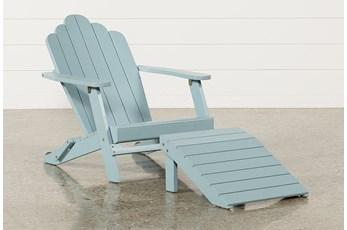 Outdoor Santiago Blue Lounge Chair/Ottoman