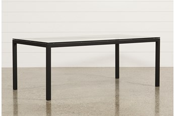 Ina Matte Black 78 Inch Dining Table W/Clear Glass
