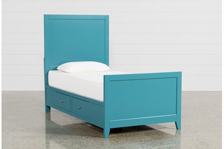 Bayside Blue Twin Panel Bed With Storage