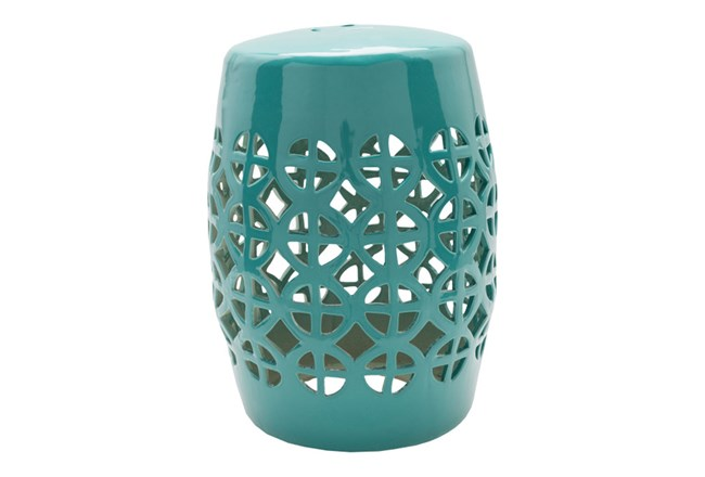 Outdoor Teal Geo Cut Stool - 360