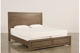 Riley Greystone Eastern King Panel Bed W/Storage