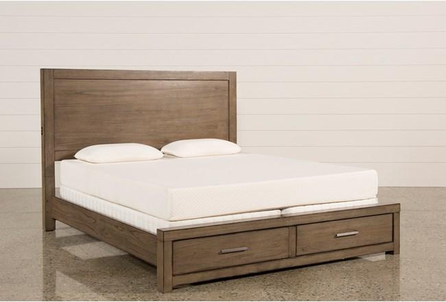 Riley Greystone Eastern King Panel Bed W/Storage - 360