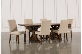 Chandler 7 Piece Extension Dining Set W/Fabric Side Chairs