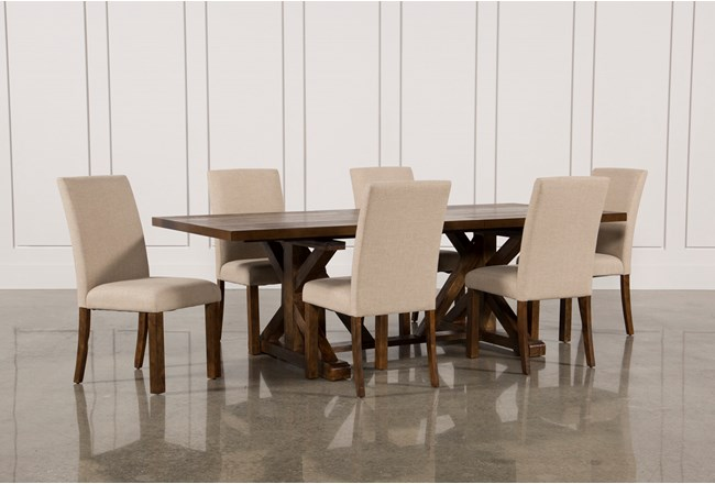 Chandler 7 Piece Extension Dining Set W/Fabric Side Chairs - 360
