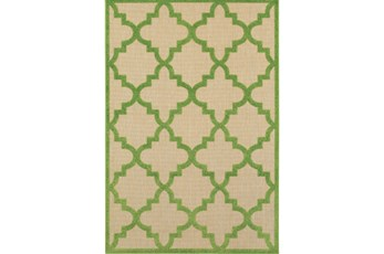 63X90 Outdoor Rug-Lime Quatrefoil
