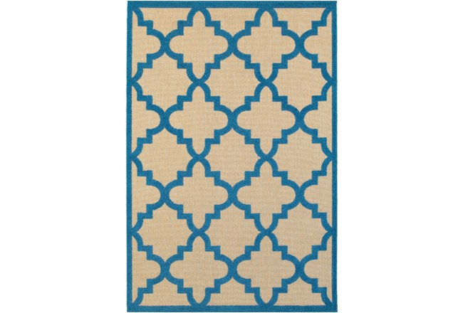 22X39 Outdoor Rug-Blue Quatrefoil - 360