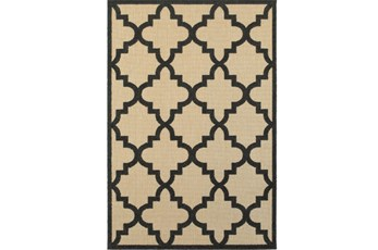 118X154 Outdoor Rug-Black Quatrefoil
