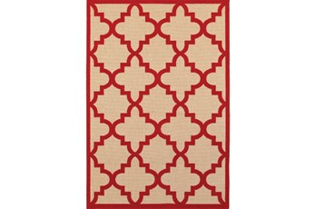 79X114 Outdoor Rug-Crimson Quatrefoil