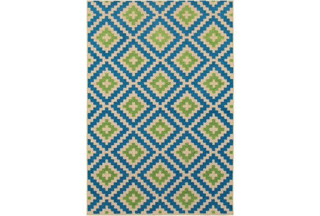 63X90 Outdoor Rug-Lime And Blue Birds Eye - 360