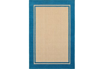 118X154 Outdoor Rug-Blue Double Border
