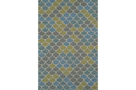 96X120 Outdoor Rug-Blue And Green Scales