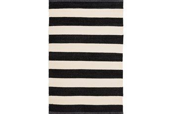 24X36 Rug-Black & White Cabana Stripe