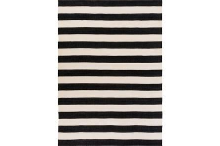 96X132 Outdoor Rug-Black & White Cabana Stripe