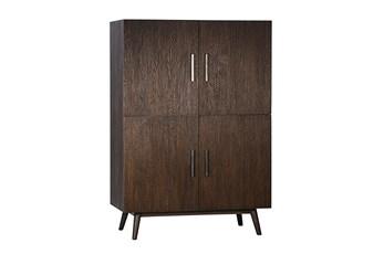Brown Oak Wood 63 Inch Tall Cabinet
